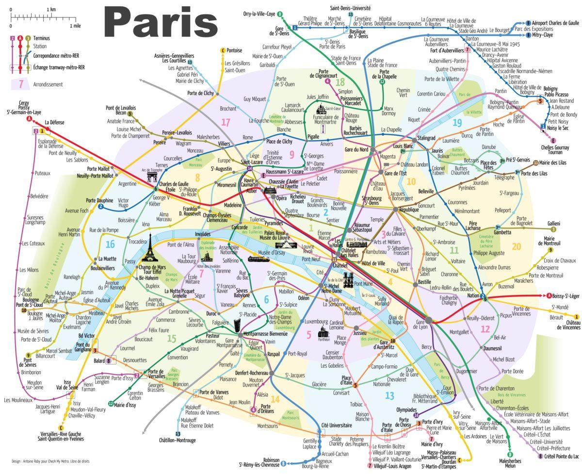 Mapa pařížské dopravy