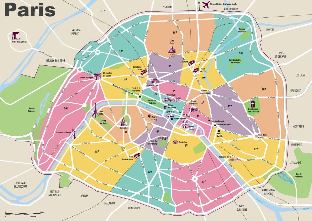 Mapy Paříže - schématická