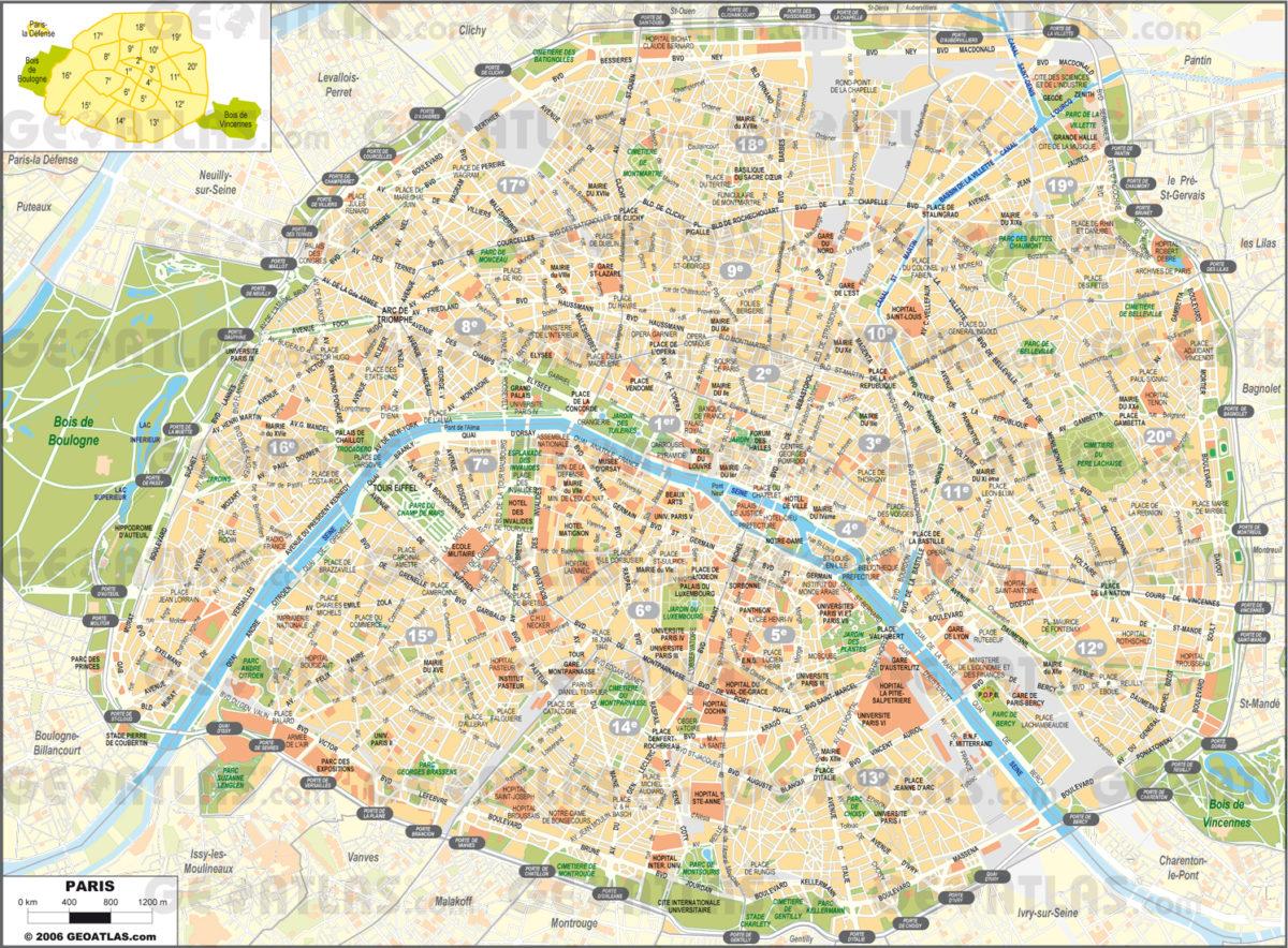 Podrobná mapa Paříže