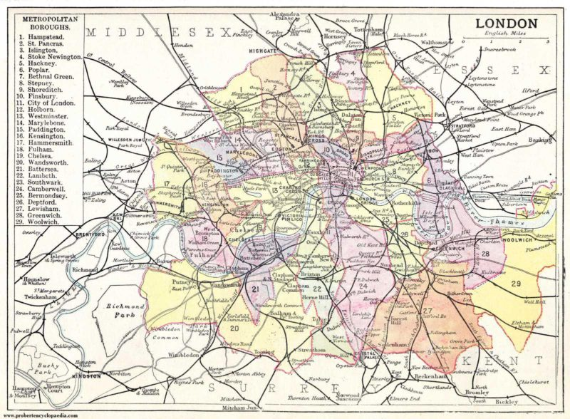 Maps of London - Historical map from 1906