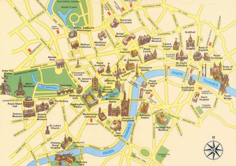 Mapa památek v Londýně