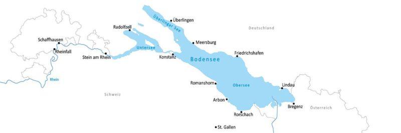 Mapa Bodamského jezera