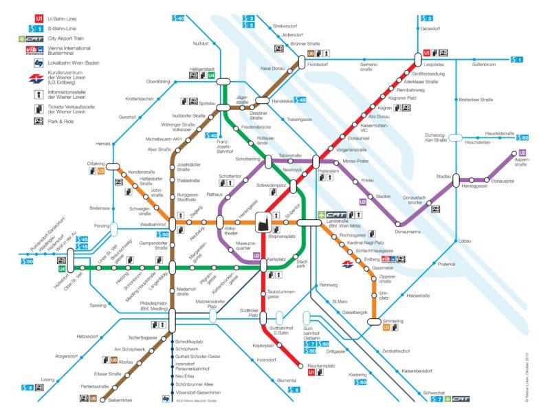 Mapa vídeňského metra