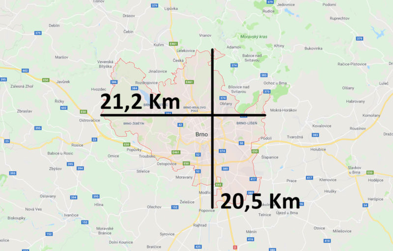 Mapa a velikost Brna