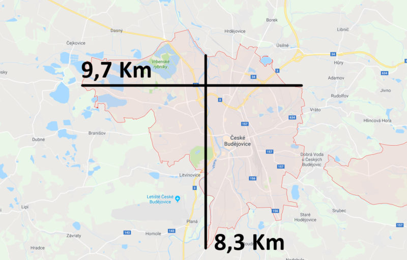 Mapa a velikost Českých Budějovic