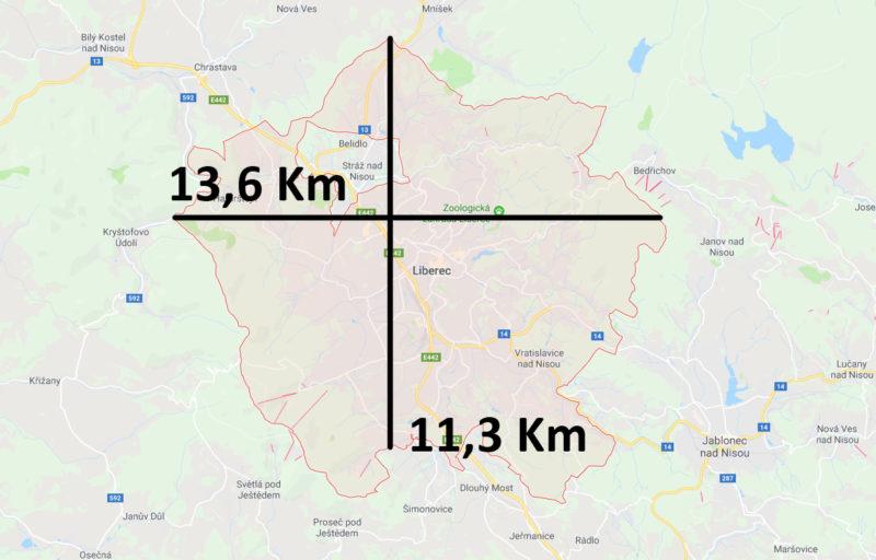 Mapa a velikost Liberce