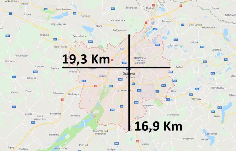 Mapa a velikost Ostravy