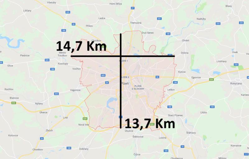 Mapa a velikost Plzně