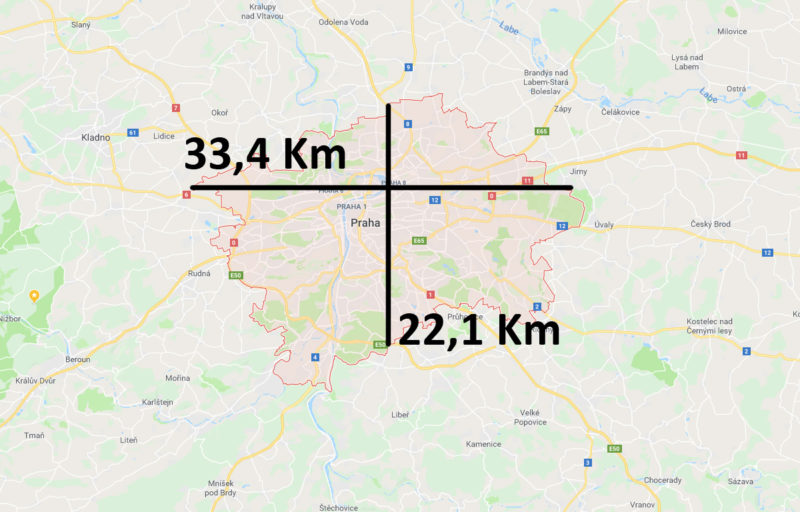 Mapa a velikost Prahy