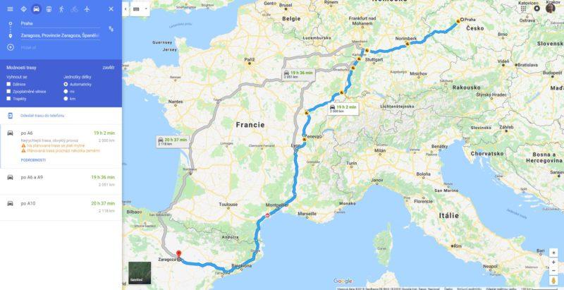 Plánovač tras v Google mapách