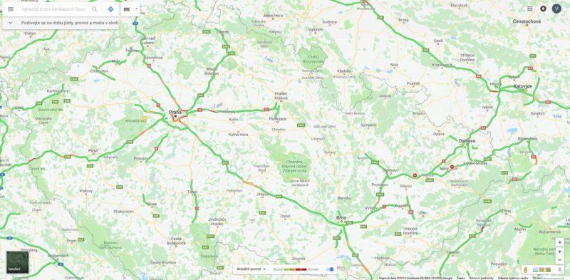 Mapa provozu na D1