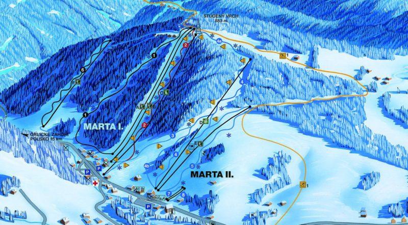 Mapa Ski areálu Deštné