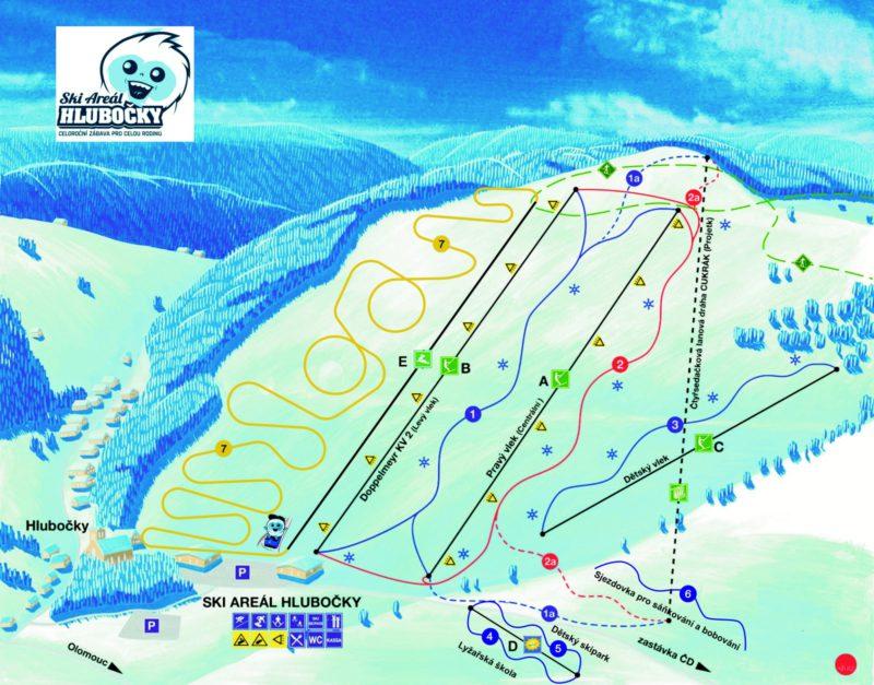 Mapa Ski areálu Hlubočky