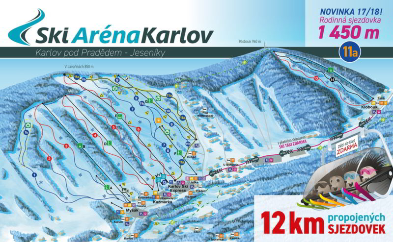 Mapa Ski Karlov se všěmi sjezdovkami