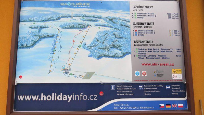 Mapa sjezdovek ve Ski Olešnice.