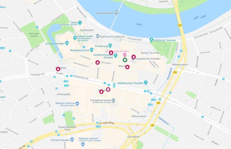 Vánoční trhy Drážďany mapa