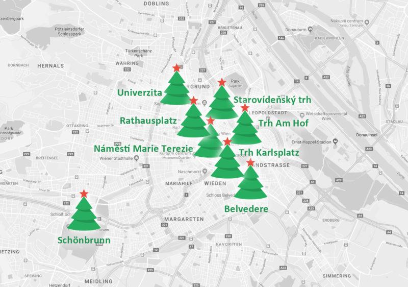 Mapa vánoční trhů ve Vídni.