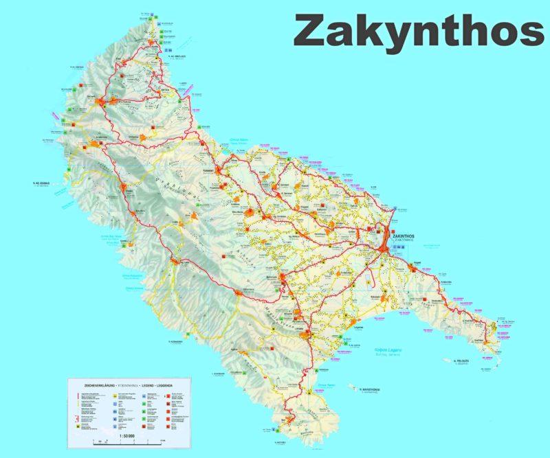 Detailní mapa Zakynthosu.