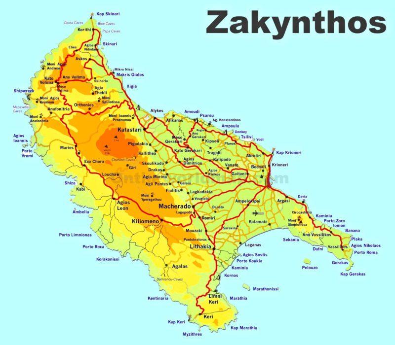 Mapa silnic na ostrově Zakynthos.