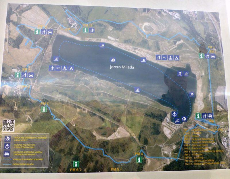 Jezero Milada mapa areálu