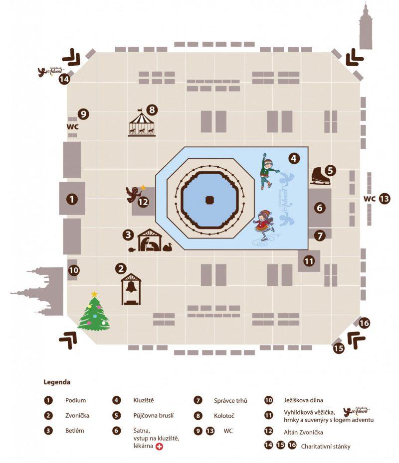 Mapa vánočních trhů v Českých Budějovicích