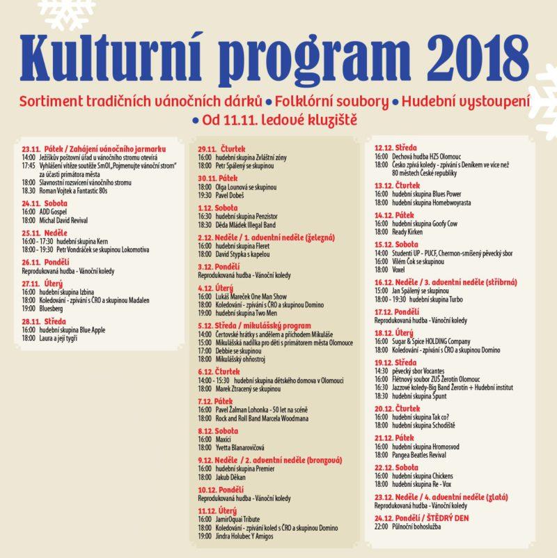 Vánoční trhy Olomouc - Program