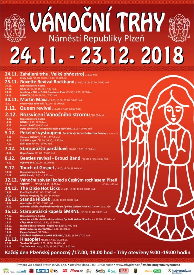 Kompletní program vánočních trhů v Plzni