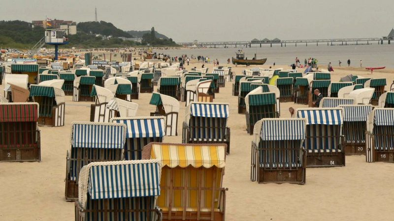 Typical wicker baskets on a German beach