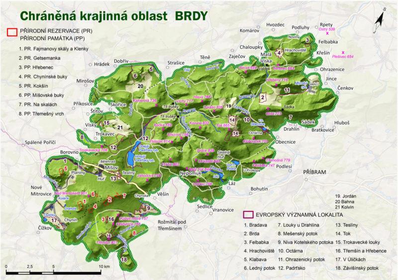 Mapa CHKO Brdy