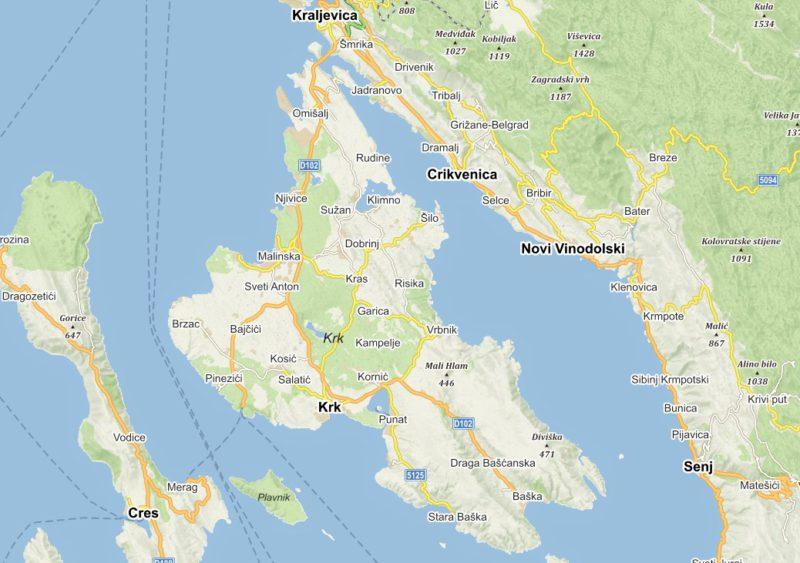 Ostrov Krk mapa