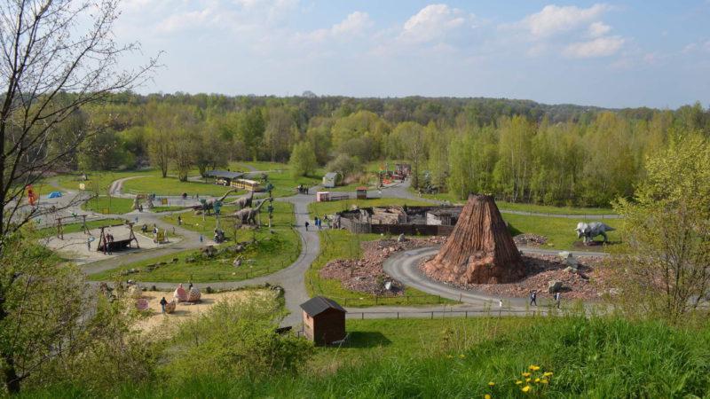 Pohled na hlavní část areálu Dinoparku Vyškov.