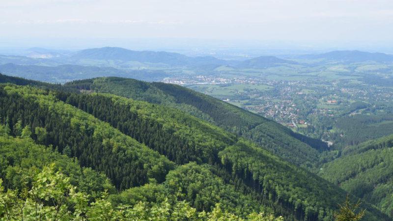 Pohled na prosluněné kopce kolem Pusteven