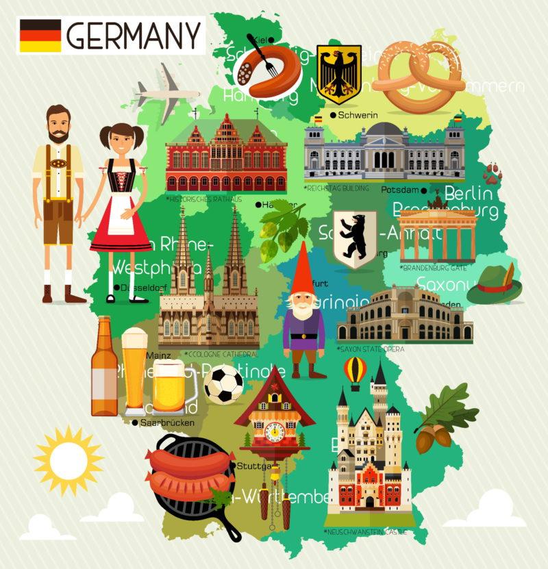 Spolkové země Německa mapa