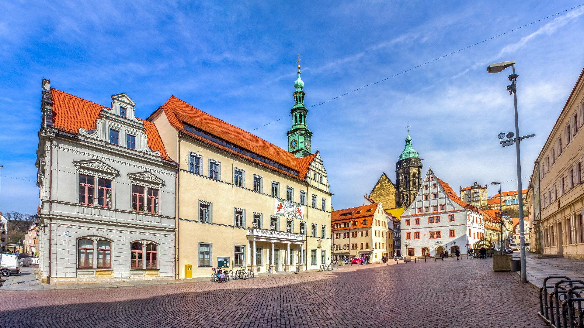Pirna průvodce městem a obchody (Kaufland, Volksbank, atd.)