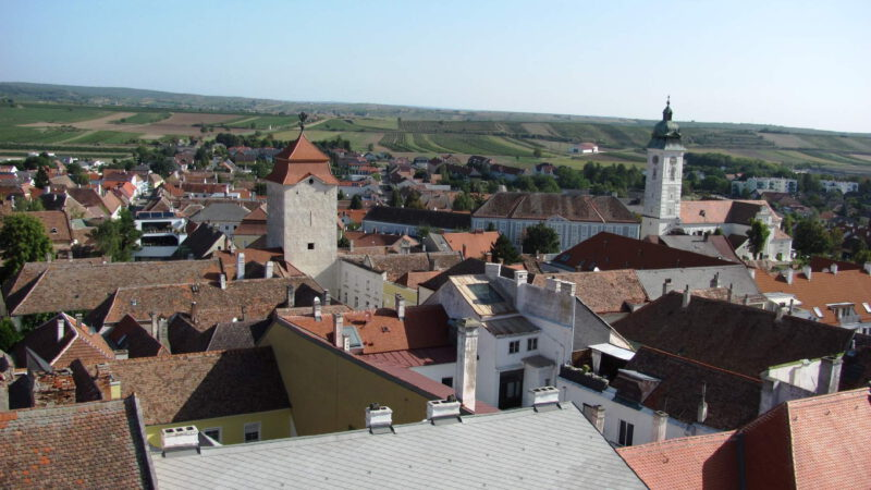 Pohled na městečko Retz z výšky