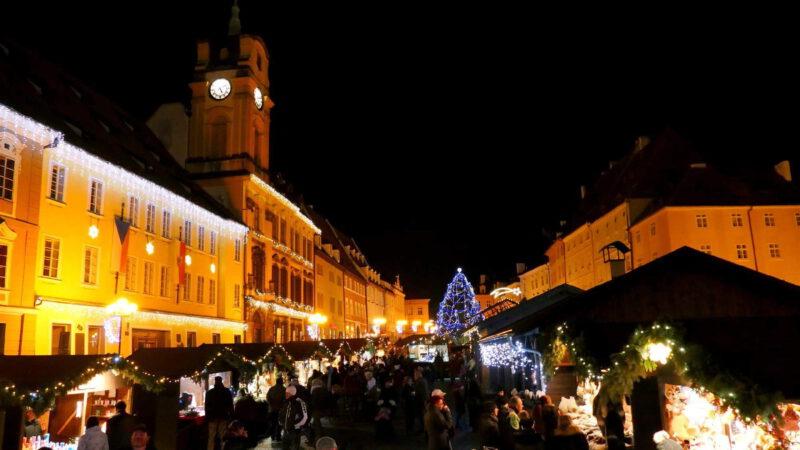 Vánoční trhy Cheb v noci