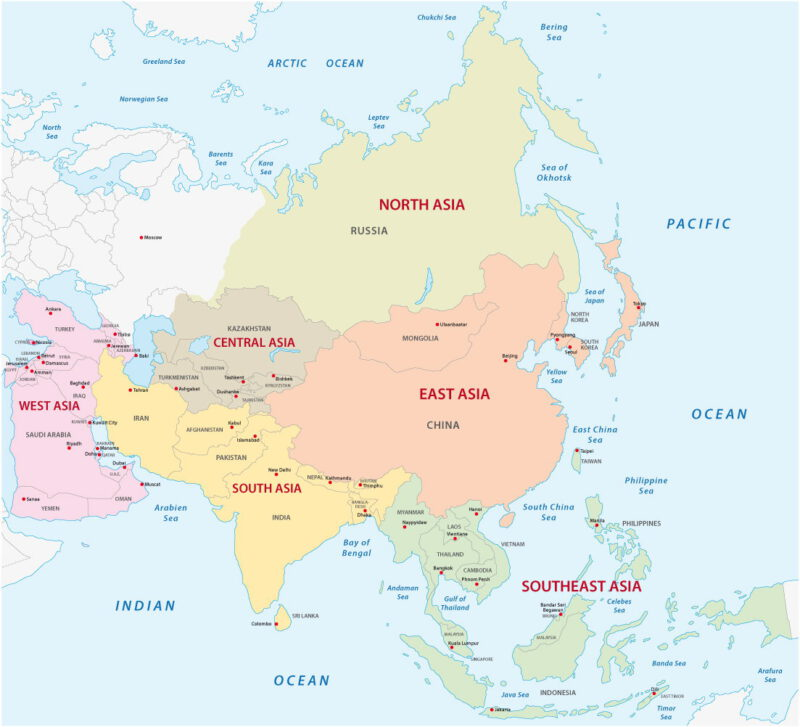 Map of Asia regions