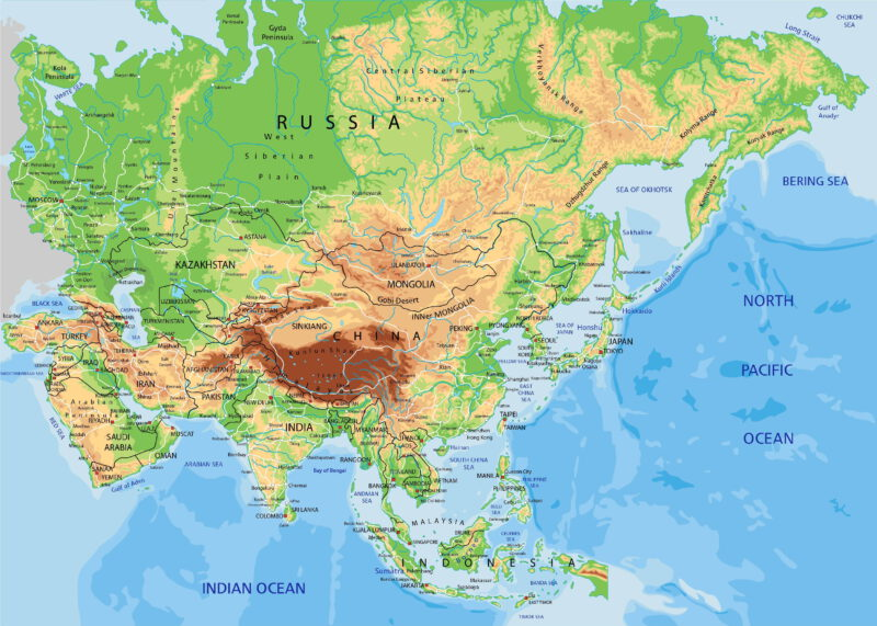 Geographic map of Asia
