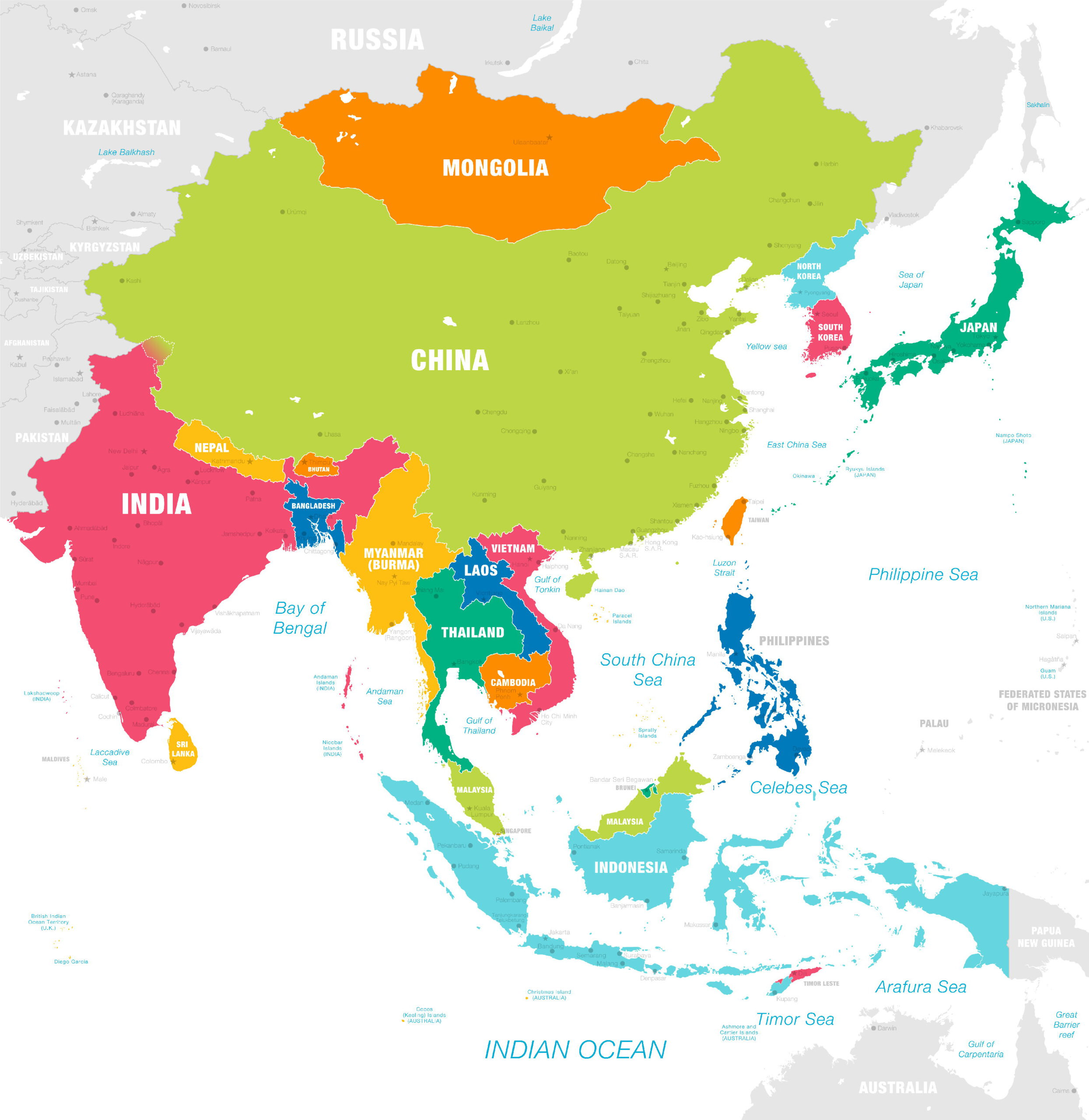 Mapy Asie Geograficka Slepa Politicka Ke Stazeni