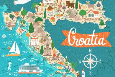 Turistická mapa Chorvatska