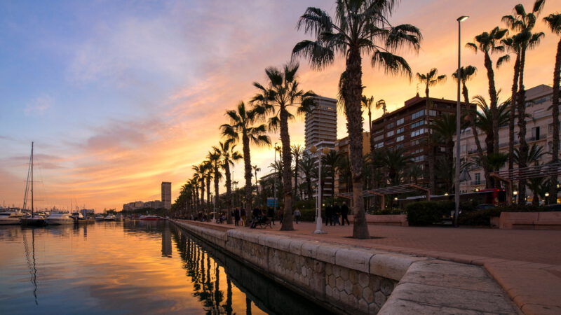 Romantic sunset over Alicante
