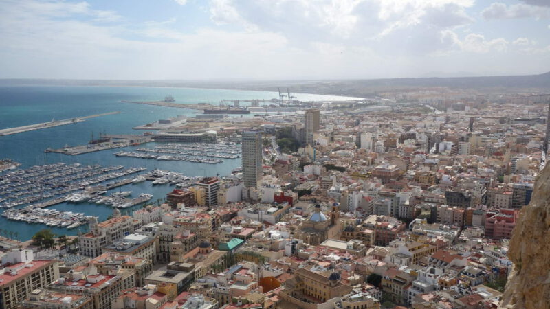 View from above of the city and its port