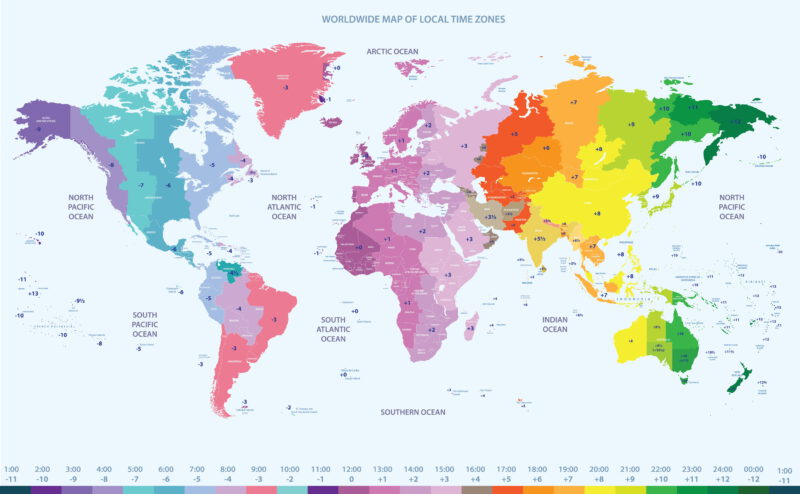 Clear time zone map