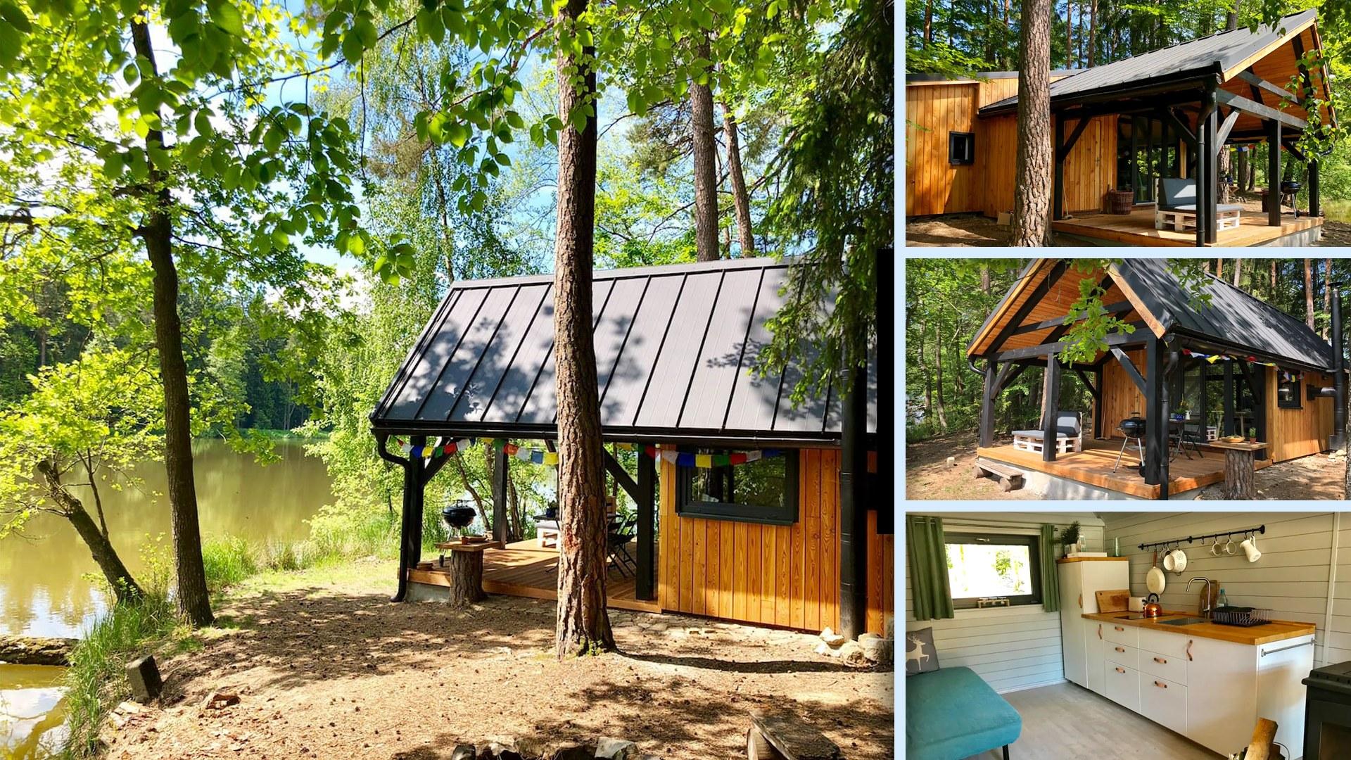 Chata v lese se saunou v sudu